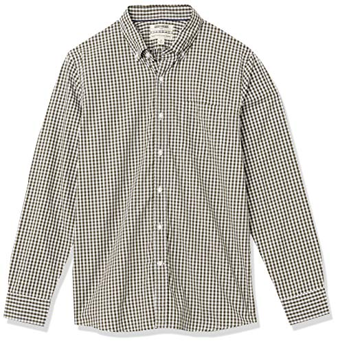 Amazon Brand - Goodthreads Mens Standard-Fit Long-Sleeve Gingham Plaid Poplin Shirt, Green Depths, Medium