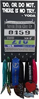 Running On The Wall - Race Bib and Medal Display Rack- Wall Mounted Sports Medal Holder and Hanger for 5K, 10K and Marathons Runners - Do, Or Do Not. There is No Try. -Yoda