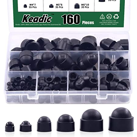 70 PIECES ASSORTED BLACK DOME PLASTIC DOME NUTS /& BOLTS COVERS CAPS M5 M6 M8 KIT
