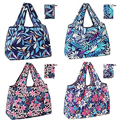 WARMWIND Reusable Grocery Bag, Large Capacity Shopper Bag with Wide Handles, Foldable Shopping Bag with Pouch, Waterproof Nylon Fabric Cloth Bag (4 pack)