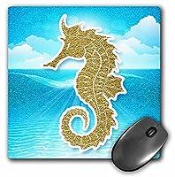 "3droseゴールドグリッターシーホースSunlit Ocean Tropicalスクラップブックスタイル–マウスパッド、8by 8"" ( MP _ 211233_ 1)"