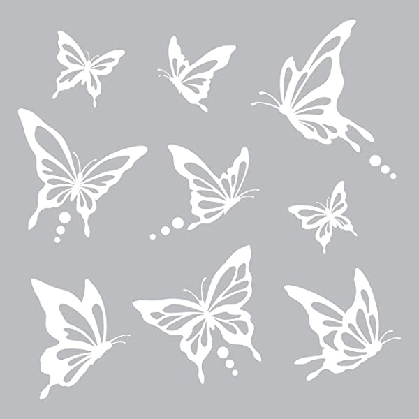 Decowall DWG 601N W Modern Butterfly Graphic Kids Wall Decals Wall Stickers Peel And Stick Removable Wall Decals For Kids Nursery Bedroom Living Room White