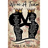 Couple Poster Personalized Name African American Couple with Crowns Black Silhouette We're A Team Wall Art Hanging Painting Watercolor Living Classroom Home Decor (No Frame)