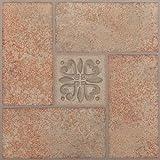 NEXUS Beige Clay Diamond with Accents 12 Inch x 12 Inch Self Adhesive Vinyl Floor Tile #335