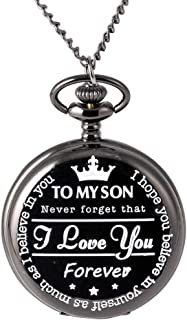 to My Son - Pocket Watch Gift for Son - Pocket Watch Gifts for Son from Mom & Dad for Christmas, Valentines Day, Birthday
