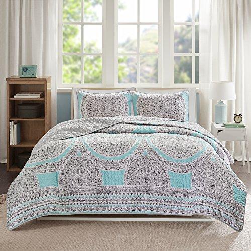 Comfort Spaces CS14-0226 Quilt Coverlet Bedspread Lightweight Printed Pattern Girls Room Bedding Set, Full/Queen(90