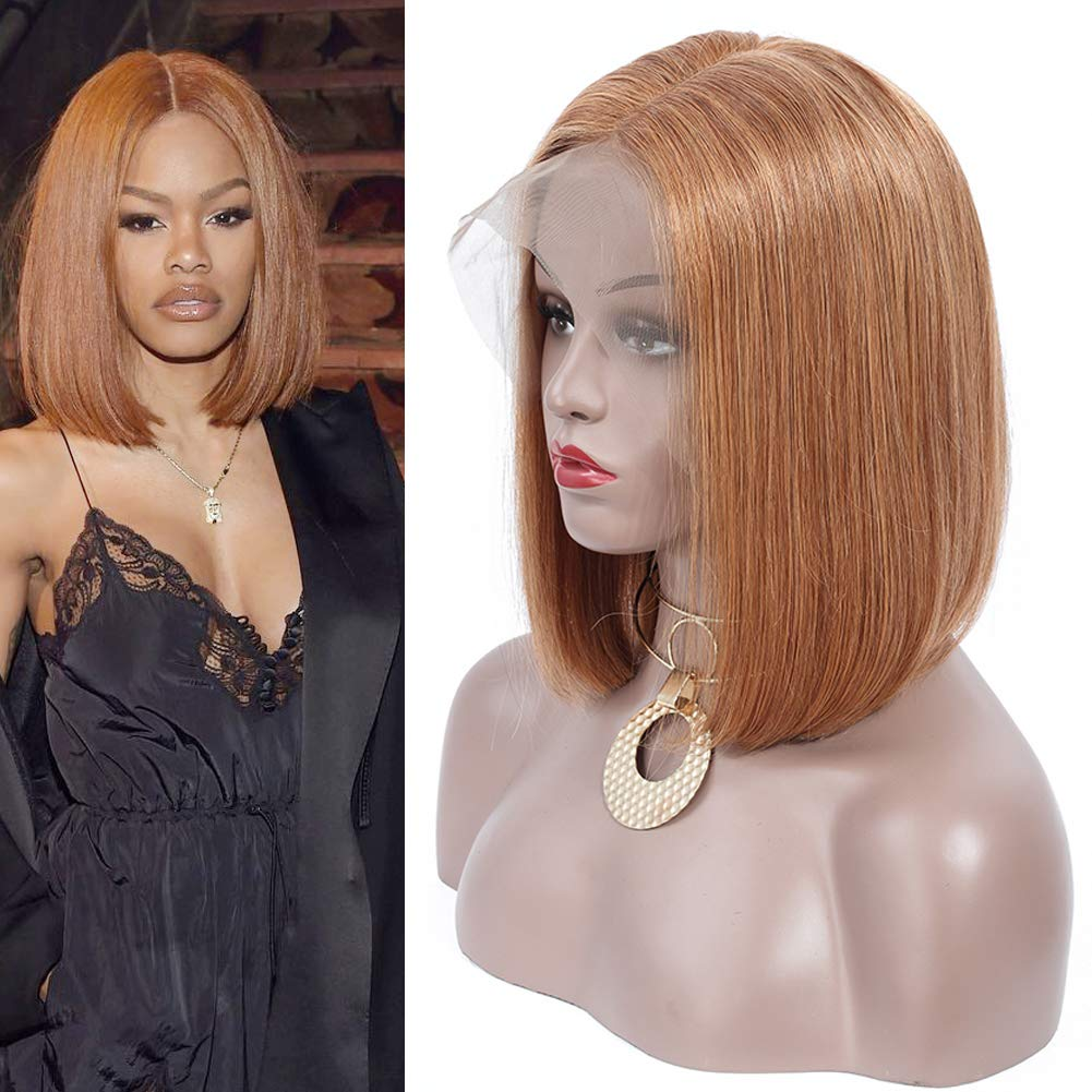 Honey Blonde Lace Front Bob Wigs Brazilian Straight Human Hair Wig With Bangs 150 Density Pre Plucked With Baby Hair 13x4 Short Lace Frontal Wig For Black Women 14inch Beauty Amazon Com