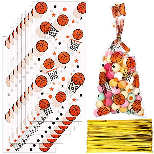 Zonon 100 Pieces Basketball Candy Bags Basketball Party Bags Basketball Goodie Bags Sports Treat Bags with 150 Pieces Gold Twist Ties for Basketball Party Favors