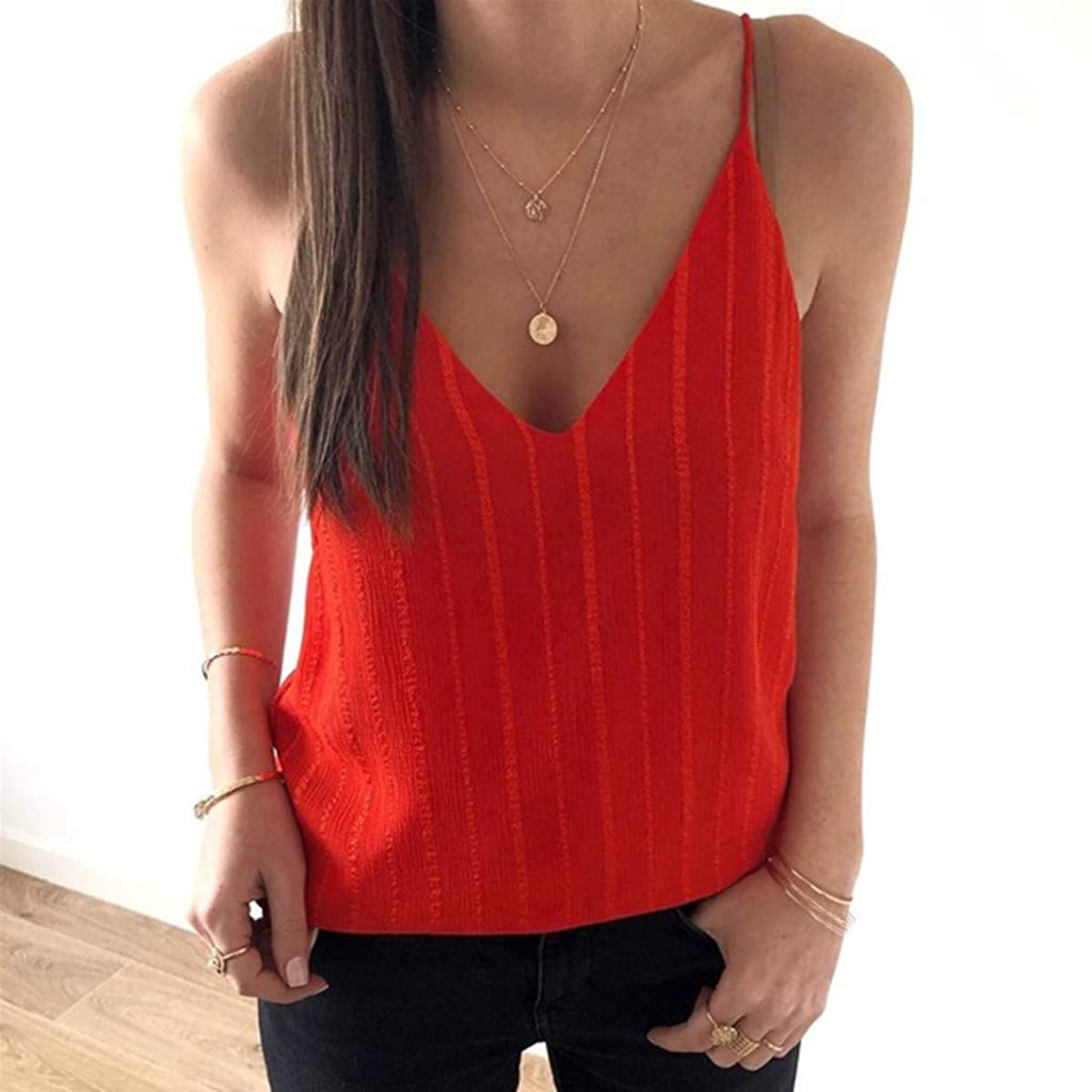 ??BIBICAT?? Women's Sexy Sling V-Neck Tops,Solid Color Vertical Striped ?Light?Shirt Blouse Tee Camisole