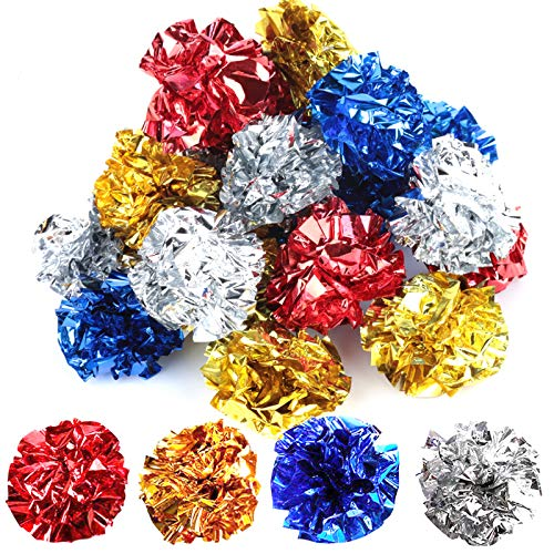 YGDZ Crinkle Cat Balls Toys, 20 Pack Original Mylar Cat Crinkle Balls Glitter Kitty Balls, Interesting Crinkly Sounds