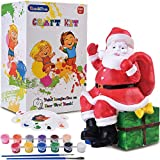 ReechTree DIY Painting Santa Piggy Bank for Kids Kit. Paint Your Own Money Box for Boys and Girls Ages 4 5 6 7 8 Year Old, Crafts Toy Gift for Toddlers Birthday and Christmas