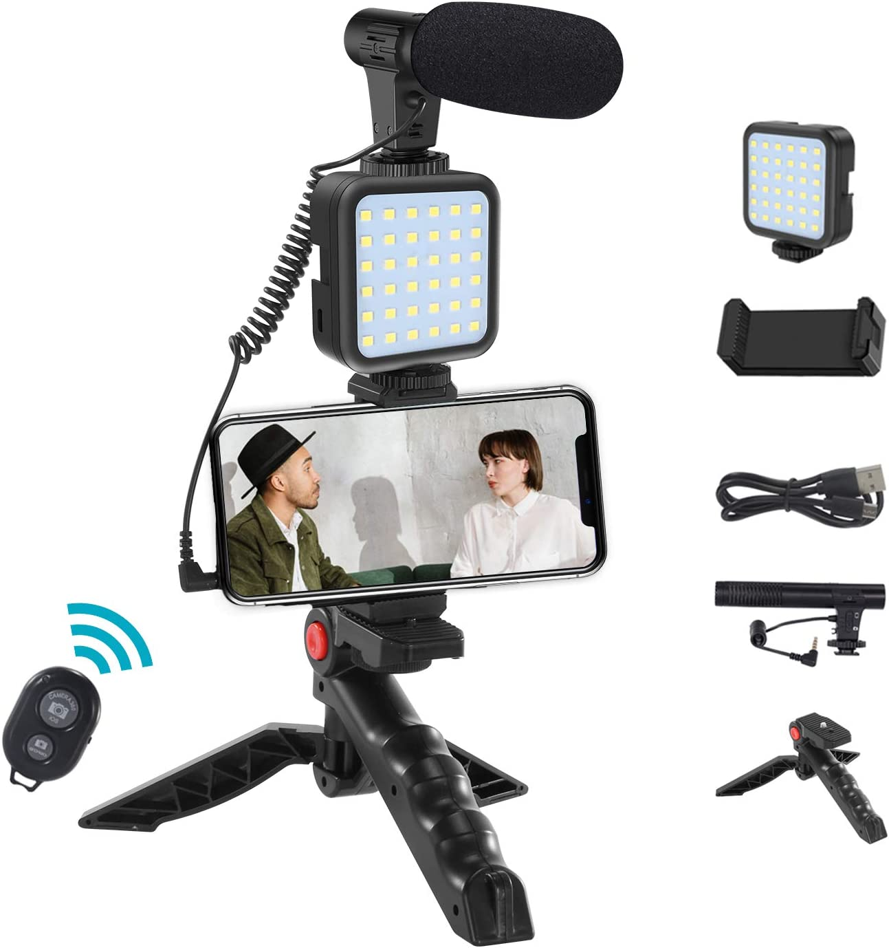 Smartphone Video Microphone Rig Kit with LED Light,Wireless Remo