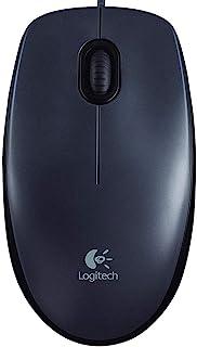 Logitech M90 Wired USB Mouse, 1000 DPI Optical Tracking, Ambidextrous PC/Mac/Laptop - Dark Grey