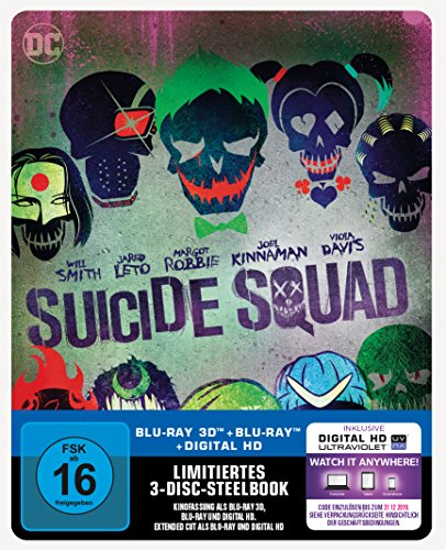 Suicide Squad - Steelbook inkl. Blu-ray Extended Cut (exklusiv bei Amazon.de) [3D Blu-ray] [Limited Edition]