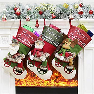 Set Of 3 Christmas Stockings For Fireplace Decoration ,Snowman ,Santa,Reindeer,