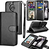Moto E4 Case, E4 Wallet Case, 2017 Motorola Moto E 4th Generation PU Leather Case, Tekcoo Luxury Cash Credit Card Slots Holder Carrying Flip Cover [Detachable Magnetic Hard Case] & Kickstand - Black