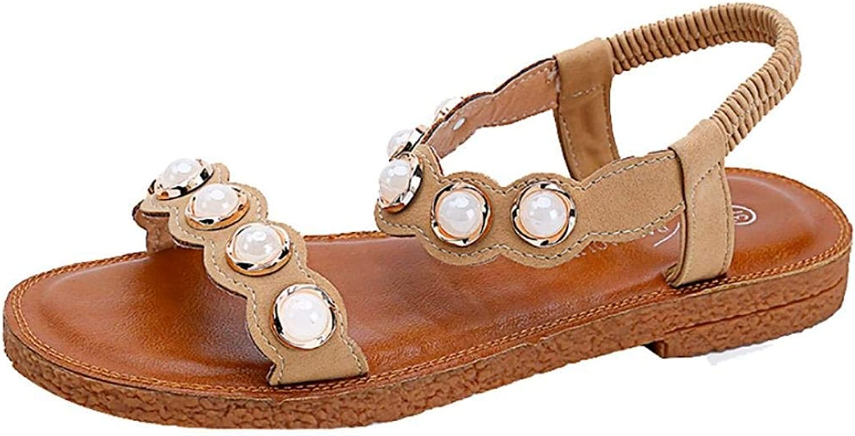 JaHGDU Fashion Women Summer Beach Women's Flip Flops Casual Flat shoes Sandals Summer Boom shoes Heel Sandals Synthetic Skin