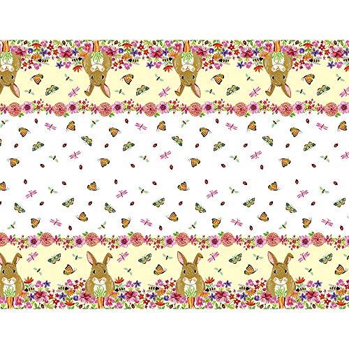 Bloemen Pasen Bunny Feestartikelen Kunststof tafelkleed 7ft x 4.5 ft multi