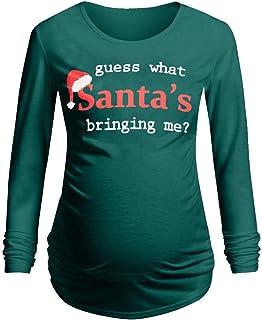 Christmas Maternity Long Sleeve Letter Printed T-Shirt Tops Pregnancy Blouse