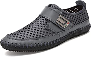 Ranipobo for Men Fashion Casual Sports Shoes Slip On Style Mesh Fabris Stitching Hollow Hook&Loop for Men (Color : Gray, Size : 7 UK)