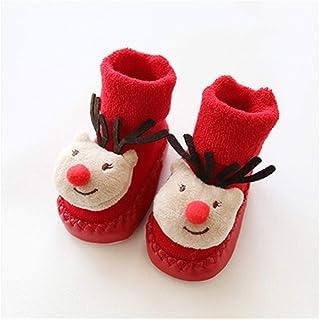 Naikaxn, Medias de Navidad Calcetín for la Navidad Calcetines de bebé recién Nacido Suelas de Goma Zapatilla niño calcetín del Zapato con Suela Calcetines Suela de Cuero