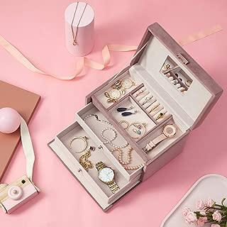 YOUDENOVA Jewelry Organizer Box, Jewelry Storage Box with Mirror Rings Earrings Necklace Bracelet Organizer Box - Pink