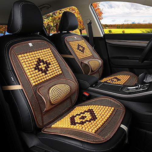 GLITZFAS Autositzauflage Universal Sommer- Holzkugeln Kissen Atmungsaktiv Massage Gemütlich Allgemeiner Zweck Autositzkissen (Beige, 48 * 98cm)