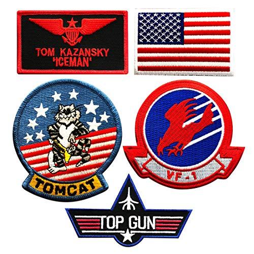 Iceman Tom Kazansky Top Gun Movie Patch (5 PC Set - Hook Fastener)