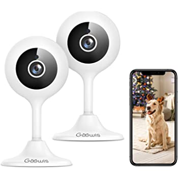 Security Camera Indoor, Goowls 2-Pack 1080p HD 2.4GHz WiFi Wired IP Camera for Home Security Baby/Dog/Pet/Nanny Camera Motion Detection Night Vision Two-Way Audio Works with Alexa