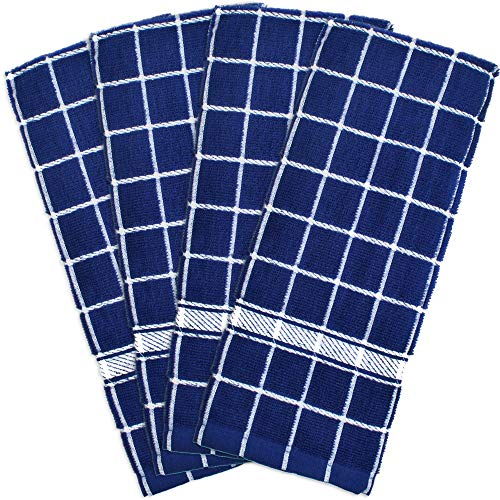 DII Cotton Terry Windowpane Dish Towels, 16 x 26' Set of 4, Machine Washable and Ultra Absorbent Kitchen Bar Towels-Nautical Blue Check