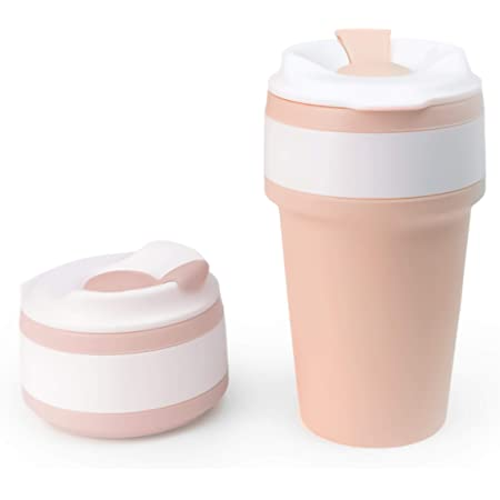 Mikka Collapsible Coffee Cup - Eco-friendly, reusable, sustainable tea/coffee travel mug made of BPA-free silicone for both indoor and outdoor use - 15oz (430ml) - Pink Brown