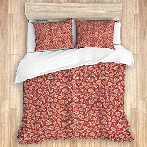 823 Kaevo Bettwäsche-Set, Bettbezug mit Kissenbezug, Blumenmuster, Jugendstil, abstrakte Skizzen mit Wirbelstielen und Blättern in warmen Farben, 135 x 200 cm