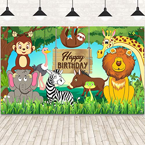 Jungle Animal Theme Birthday Party Decorations, Extra Large Fabric Safari Animal Elements Printed Happy Birthday Backdrop Funny Cartoon Forest Banner Background for Birthday Party Supplies, 6 x 3.6ft