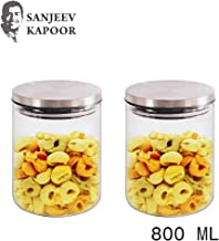 Sanjeev Kapoor Classic Borosilicate Glass Jar with Wodden Lid, 600 ml, Transparent, Set of 2