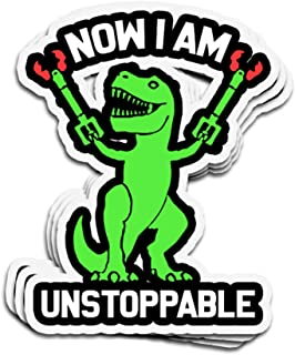VFreeM 3 PCs Stickers Now I Am Unstoppable Funny TRex 3x4 Inch Die-Cut Wall Decals for Laptop Window