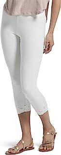 بنطلون كابري حريمي أنيق من HUE مصنوع من القطن، متنوع، أبيض - مطرز، مقاس صغير جدًا