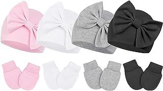 Century Star Newborn Girls Hats Baby Hat and Mitten Set Big Bow Knit Infant Headbands Winter Baby Hat for Girls