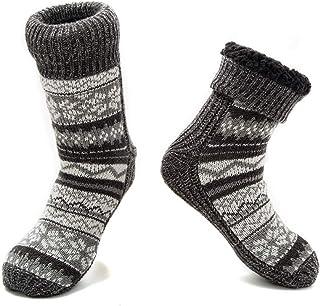MaaMgic Mens Fuzzy Warm Slipper Socks Non Slip Skid Winter Cozy Knit Fleece Lining Indoor Socks with Grips for Men Teen