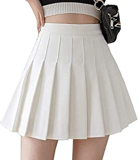 Girls Women's High Waisted Pleated Skater Tennis Skirt School Uniform Skirts with Lining Shorts