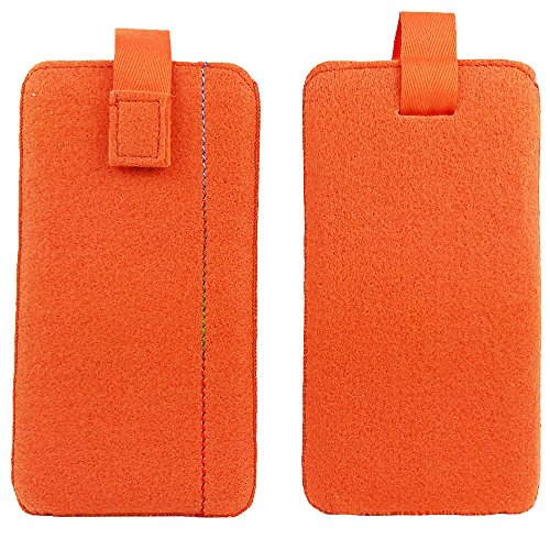 handy-point 6,4 Zoll Übergröße Filztasche, Handytasche, Tasche für Smartphones , handgemacht ,Orange