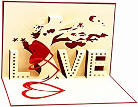 Alimitopia Greeting Card,Handmade 3D Pop Up Postcard Valentines Gift Card with Matching Envelope (Tree of Love)