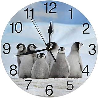 Unga pingviner med snö hög rund väggklocka tyst tickar ej batteridriven lätt att läsa för studenter kontor skola hem dekor...