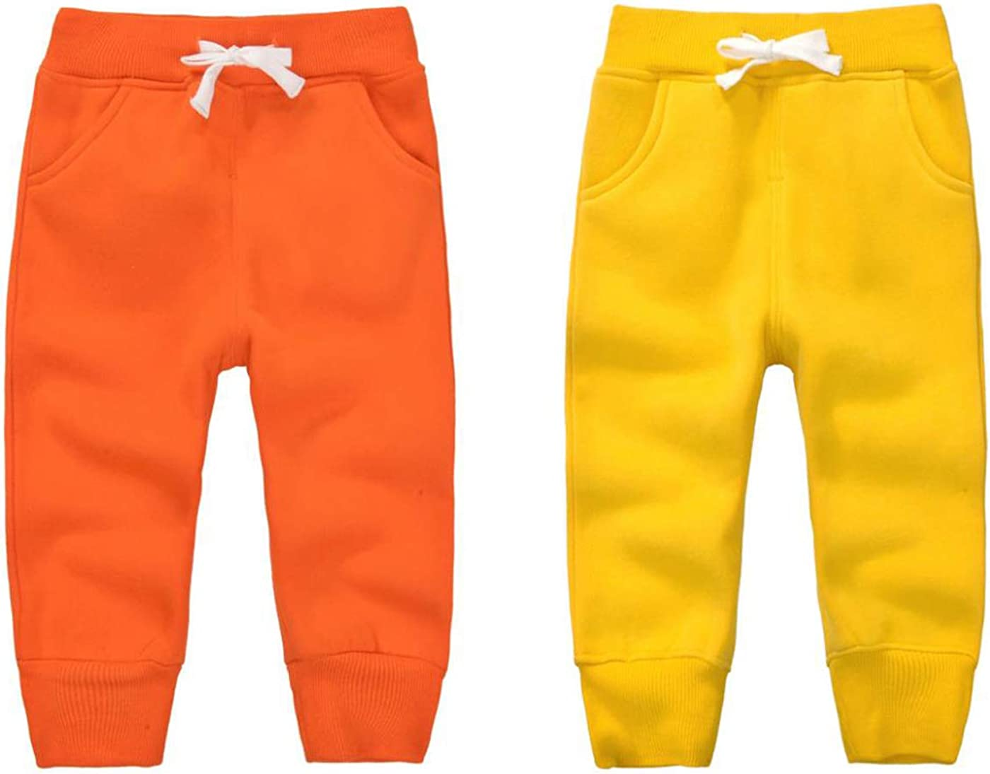 CuteOn Unisex Toddler Jogger Pants Kids Cotton Elastic Waist Winter Baby Sweatpants Pants 1-5Years