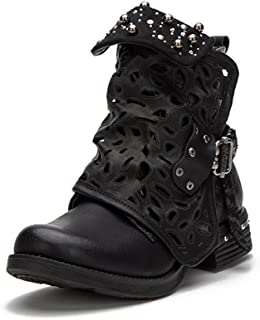 Women Motorcycle Boots Combat Ankle Combat Boots with Studded Low Block Heels Biker Shoes Black/Gray/Brown