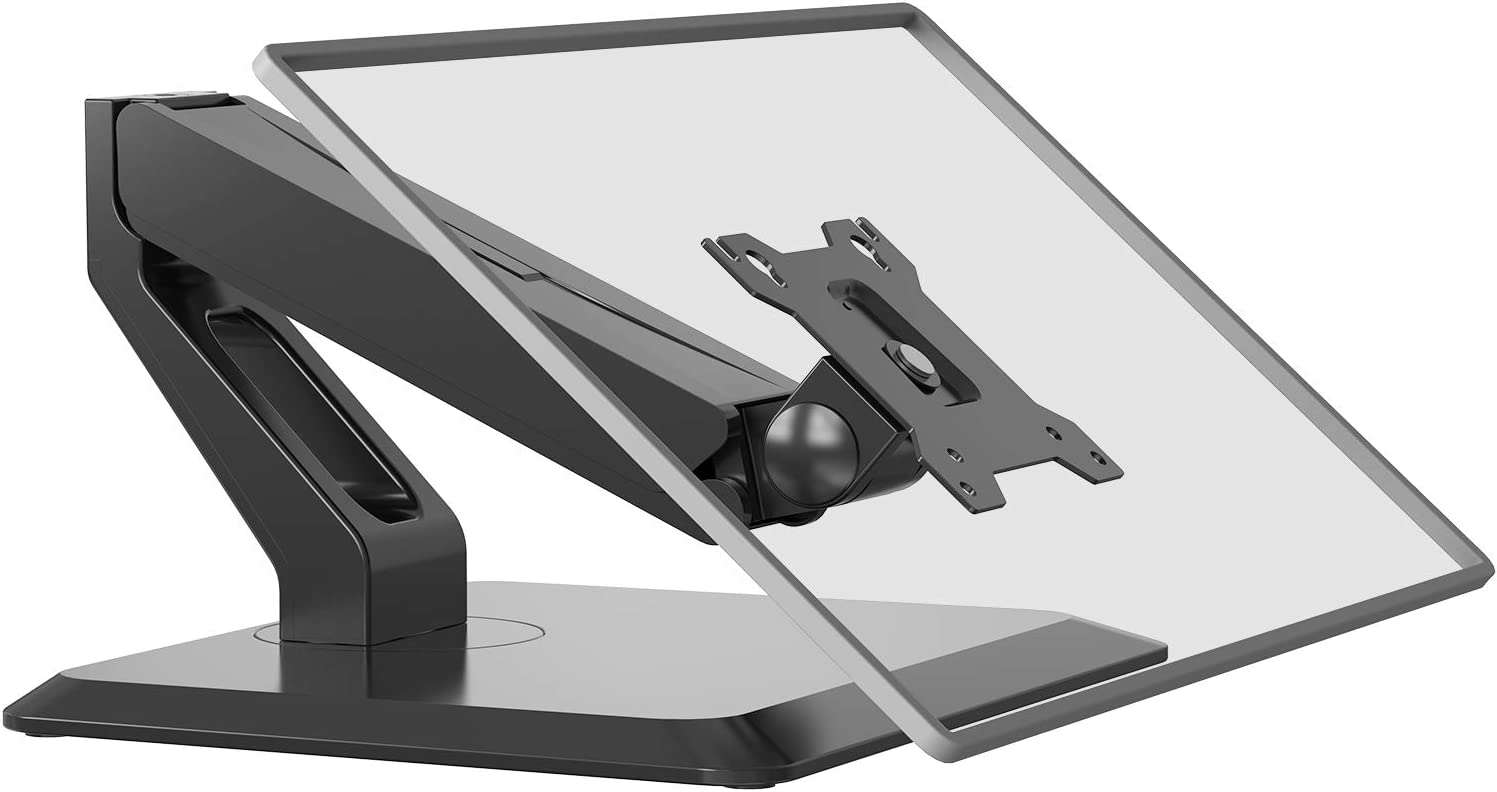 Free Standing Single Touch Screen Monitor Stand Gas Spring Adjustable Desk Mount Fits One Screen up to 27 inch, 22 lbs. Weight Capacity (GSMF001), Black by WALI