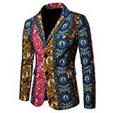 Mens Suit Jacket Floral Printed Two Button Casual Blazer Sports Coat (X09, XX-Large)
