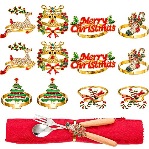 Christmas Napkin Rings Holders for Christmas Dinners Parties, Wedding Adornment, Table Decoration Accessories dding Adornment, Table Decoration Accessories (12 Pieces)