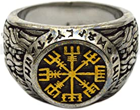 BAVAHA Ancient Antique Nordic Viking Gold Plating Rune Circle Ring in cabochon Shape for Men