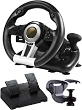 LIfav Racing Game Steering Wheel, Driving Simulator, Support PC / PS3 / PS4 / Xbox One/Switch, with Pedals,Black
