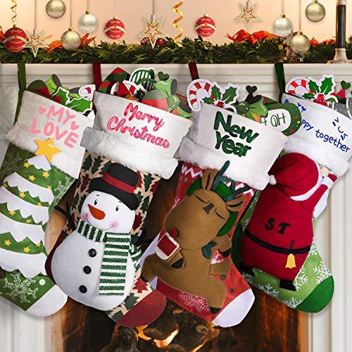 Joyjoz Personalized Christmas Stockings 4Packs with 3 Coloured Pens, 18' Xmas Big Stockings with Santa, Snowman, Elk, Christmas Tree, Handmade, 3D Plush for Christmas Decorations